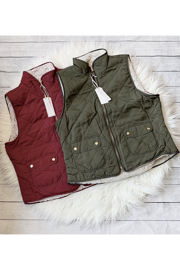 Curvy Sherpa Lined Quilted Vest
