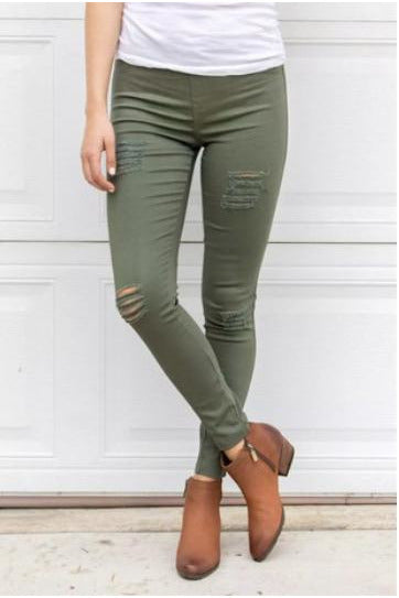 Distressed Perfect Mid Rise Skinny Pants