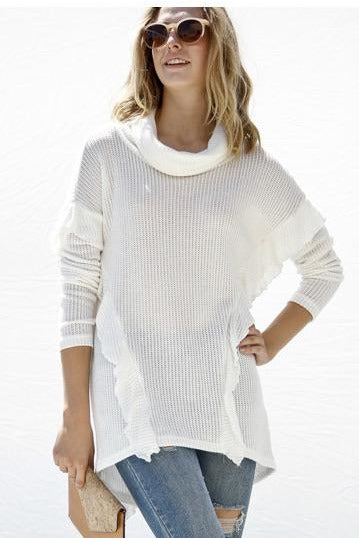 White Ruffled Turtleneck