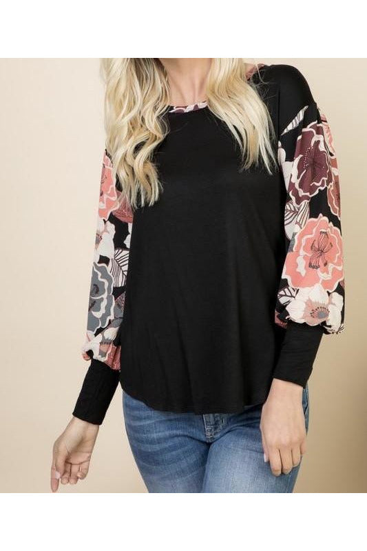 Black Floral Bubble Sleeve Top