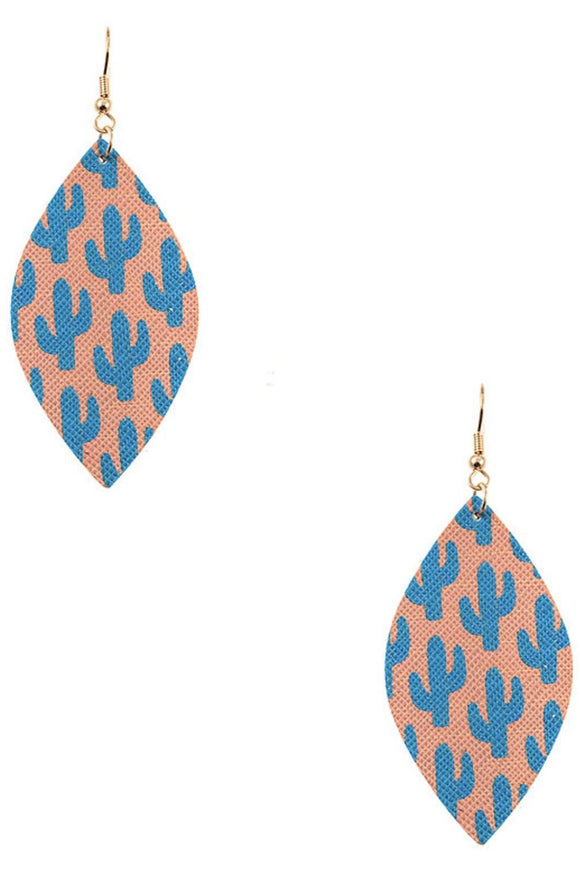 Cactus Print Dangle Earrings
