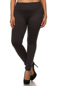 Plus Size Seamless Fleece Lined Leggings (Black)