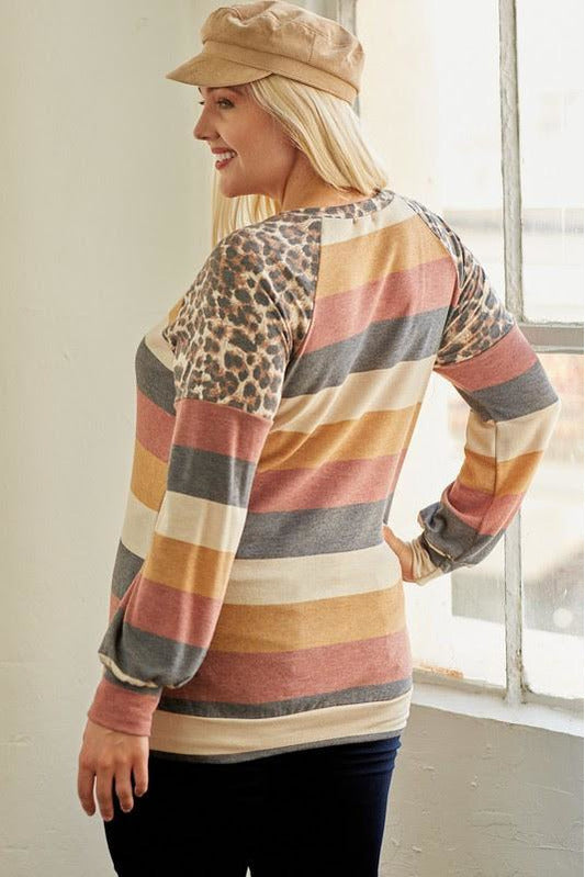 Curvy French Terry Leopard Contrast Top