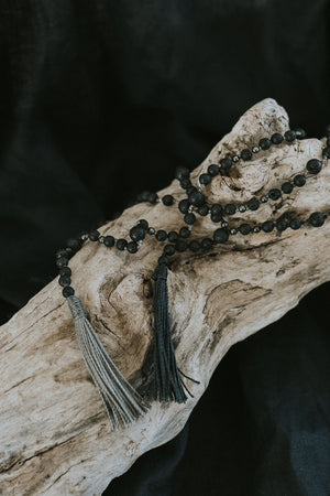Lava Stone mala necklace | waxed
