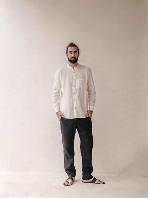 Linen Mao Collar Shirt