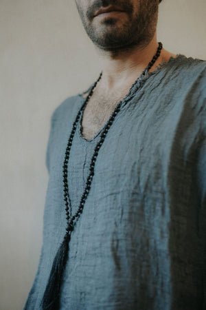 Loose fit, Raw linen V-neck  Shirt