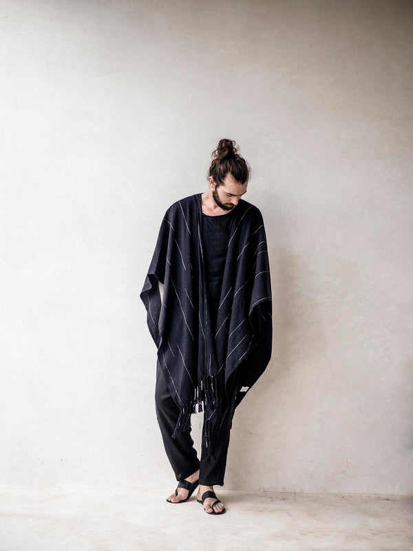 Men's Black Cape Poncho with fringes
