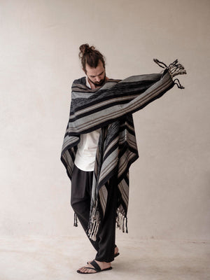 Men's stripped Cape Poncho with fringes