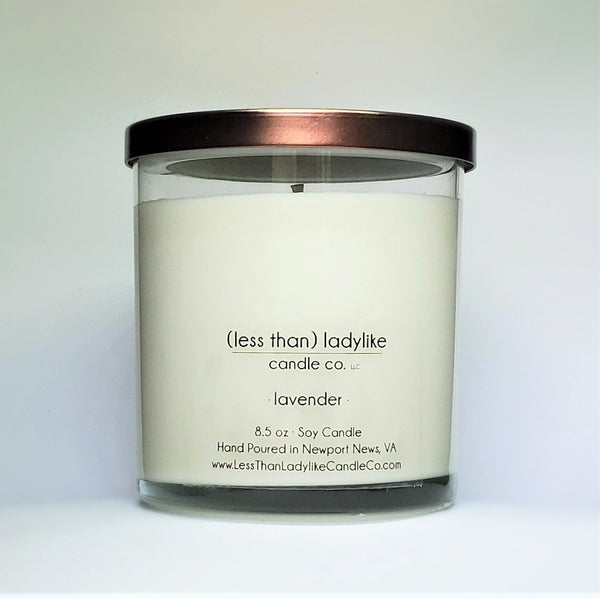 Custom candle, customizable label and scent. Lavender candle in glass jar with bronze lid. Back view. Wholesale candle.