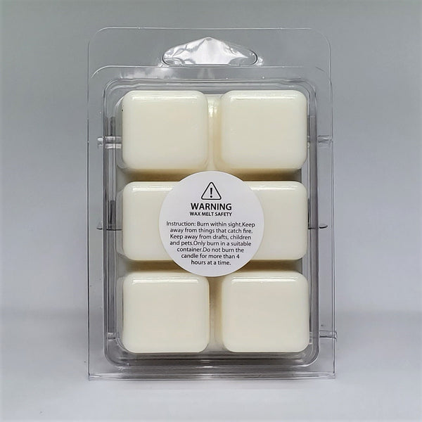 Milf wax melt, amber noir scent. Recyclable plastic clamshell wax melts in back view with warning label.