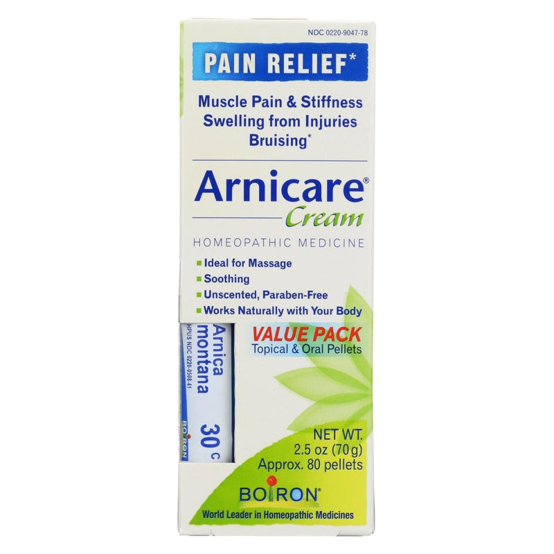 Boiron Arnicare Arnica Cream for Pain Relief & Blue Tube Value 2.5oz Pack