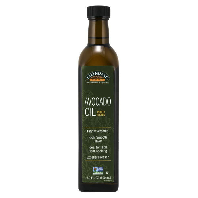 Ellyndale Organics - Avocado Cooking Oil in Glass Bottle, Rich Smooth Flavor, Ideal for High Heat Cooking, Expeller Pressed, Certified Non-GMO, 16.9-Ounce