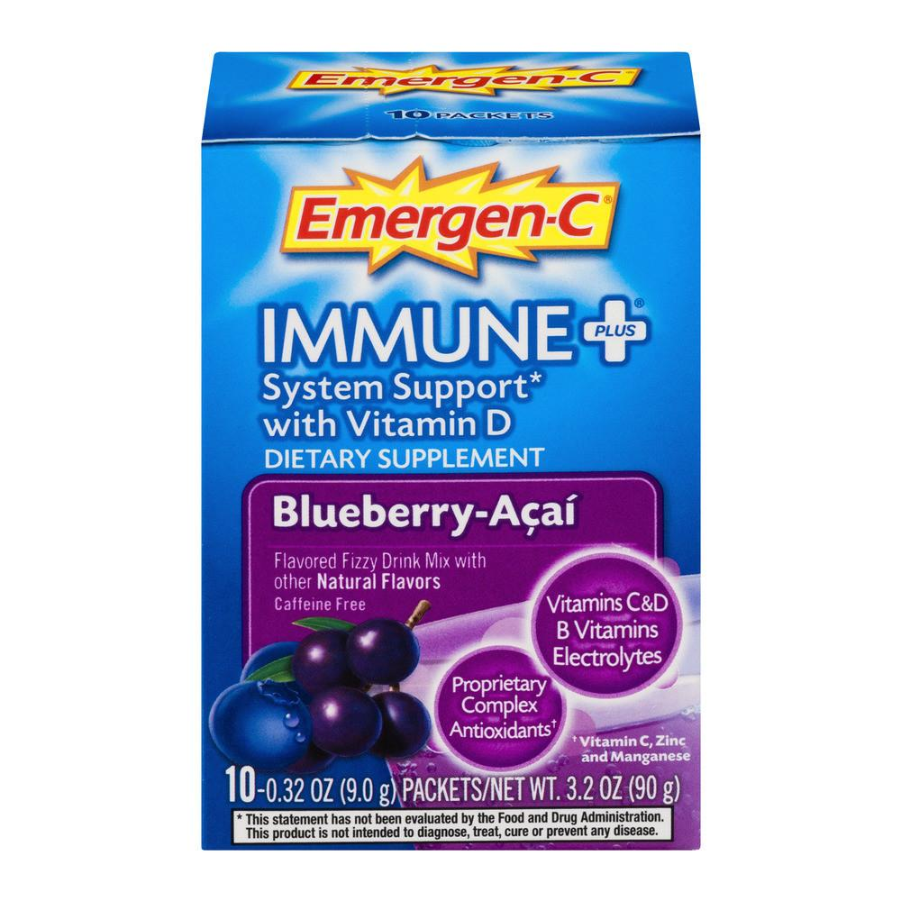 Immune Plus System Support Blueberry-Acai Flavored Fizzy Drink Mix, 10