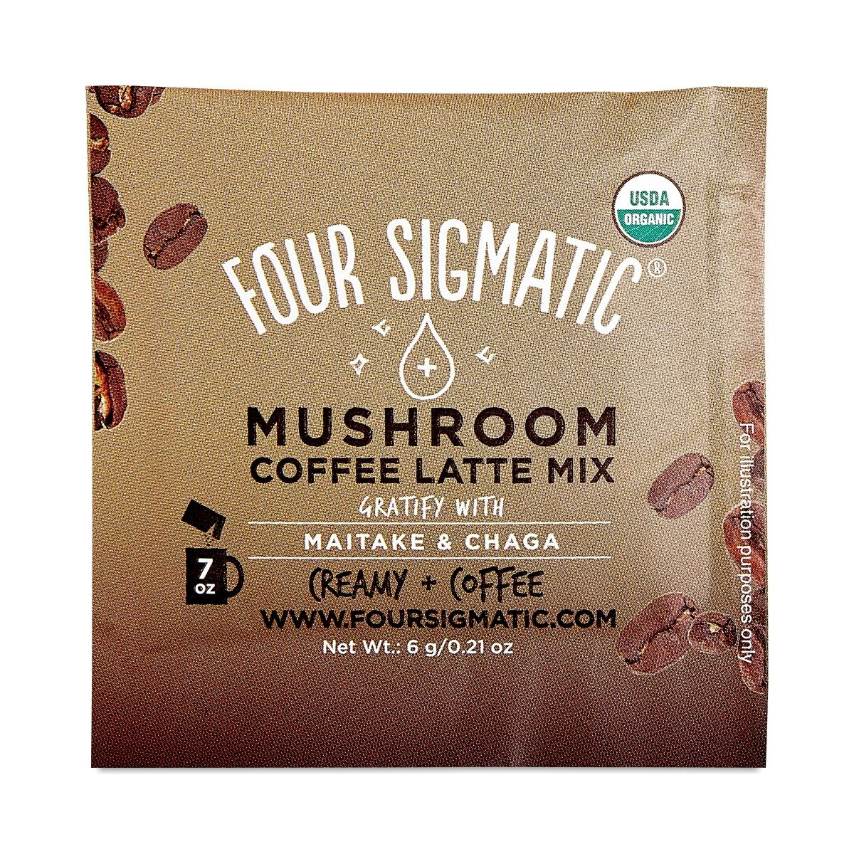 Mushroom Coffee Latte Mix With Maitake & Chaga Four Sigmatic 10 Packets