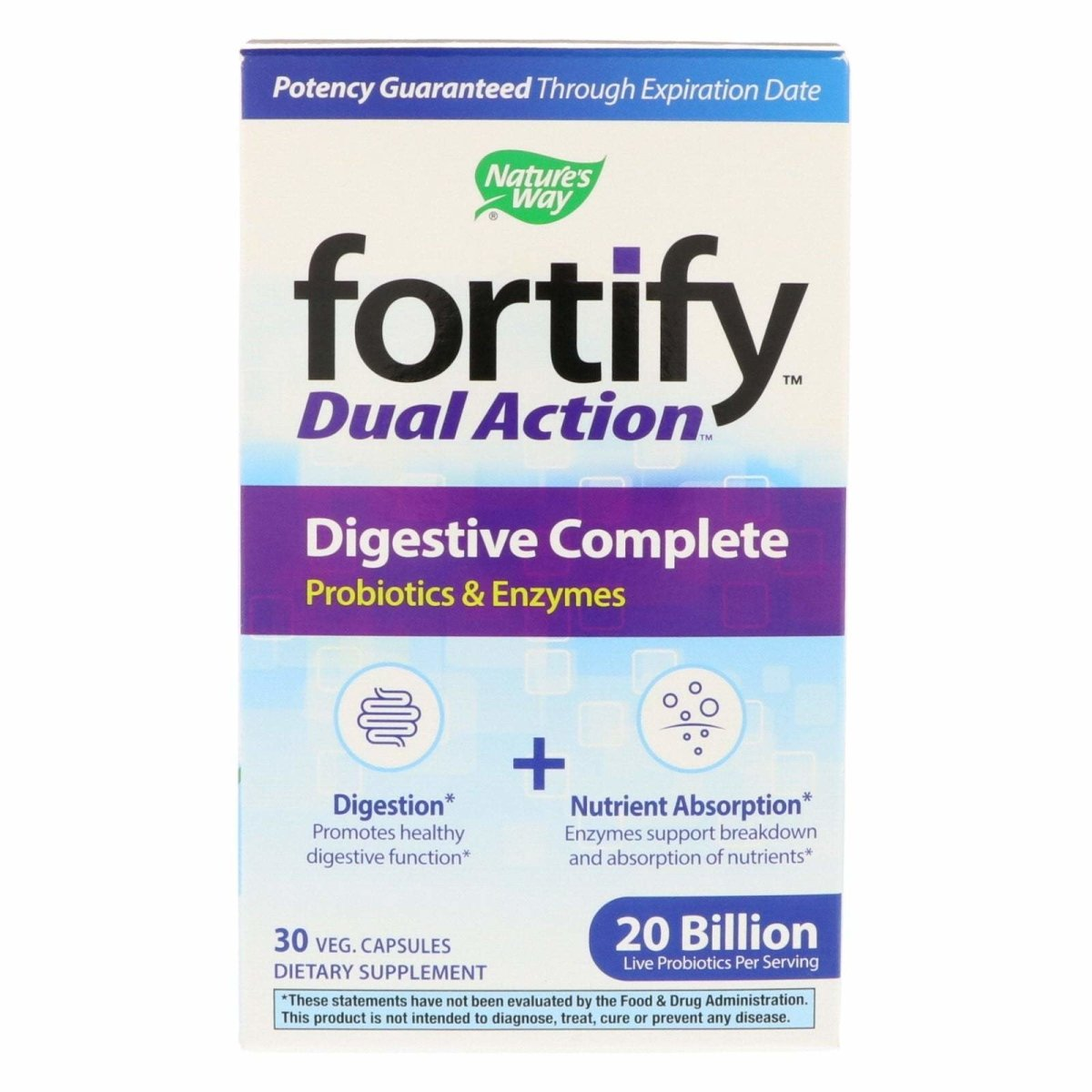 Nature's Way Fortify Dual Action Digestive Complete 20 Billion Live Probiotic 30 Vegetarian Capsules