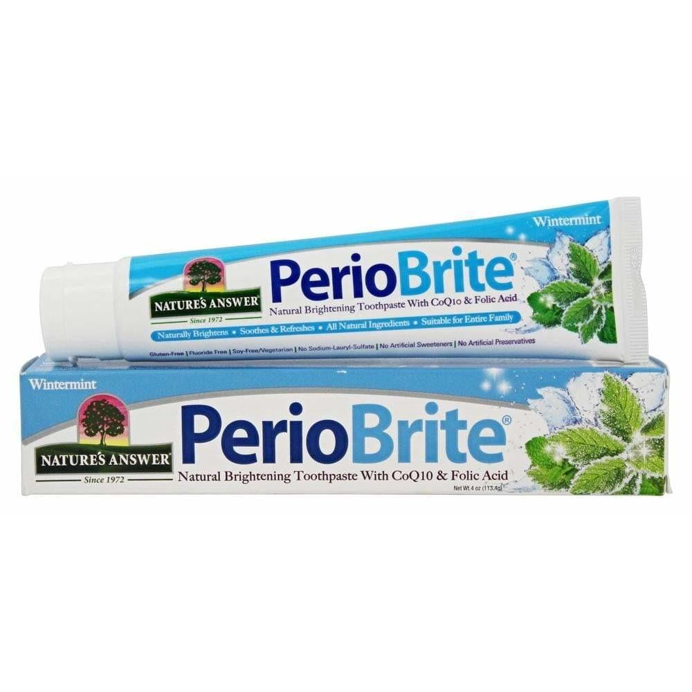 PerioBrite Natural Toothpaste - Natural Brightening - CoQ10 and Folic Acid - Wintermint - 4oz