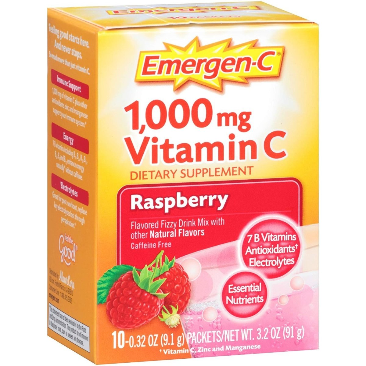 Raspberry 1,000 mg Vitamin C Fizzy Drink Mix 10 Pack