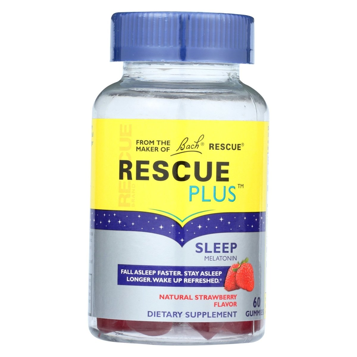 Rescue Plus - Sleep Melatonin 2500mcg 2.5mg - Natural Strawberry Gummy - 60 Gummy