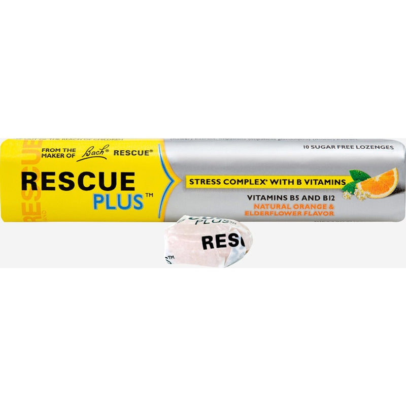 Rescue Plus - Stress Complex B Vitamin Lozenges - Orange and Elderflower - 10 Lozenges