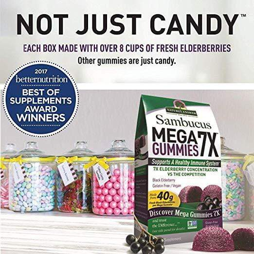 Sambucus Mega Gummies 7X, Black Elderberry, 30 Vegan Gummies