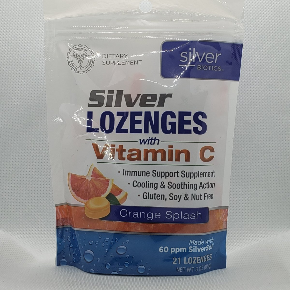 Silver Lozenges with Vitamin C - Orange Splash - 60ppm Silversol - 21 Lozenges