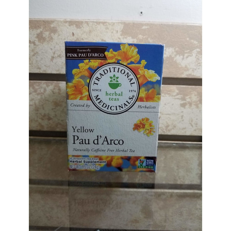Traditional Medicinals Pau D'Arco Herbal Tea, 16-Count Wrapped Tea Bags (Pack of