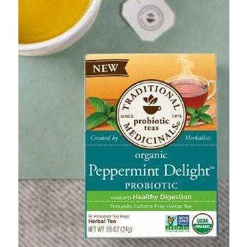Traditional Medicinals Peppermint Delight Probiotic Herbal Tea, 16 tea bags per pack