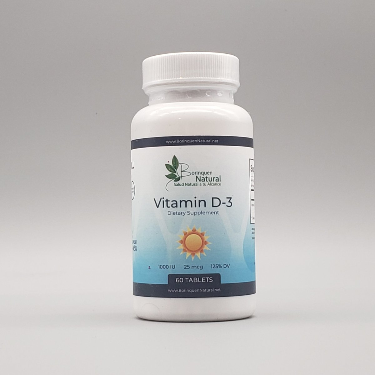 Vitamina D-3 - 1000UI - 25mcg - 125% DV - 60 Tablets - Borinquen Natural