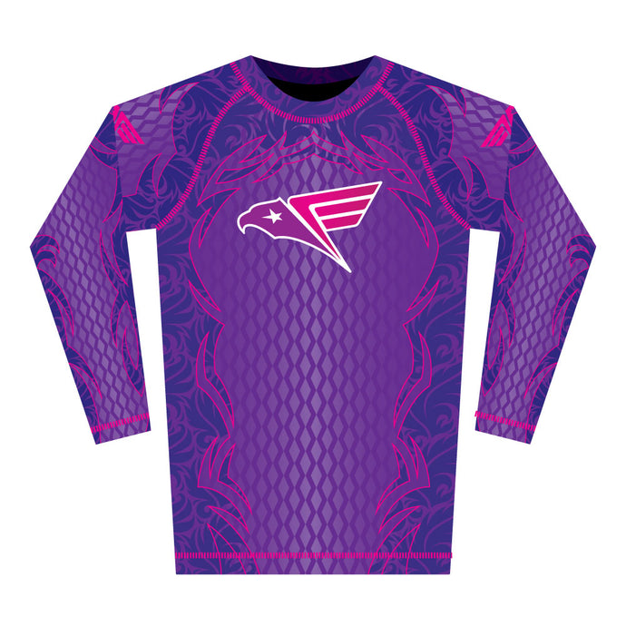 Purple Tribal Rash Guard (Long Sleeve)