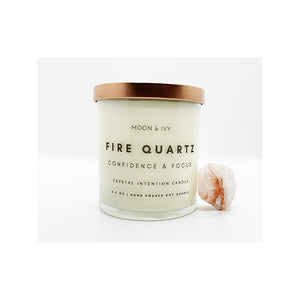 Fire Quartz Crystal Intention Candle
