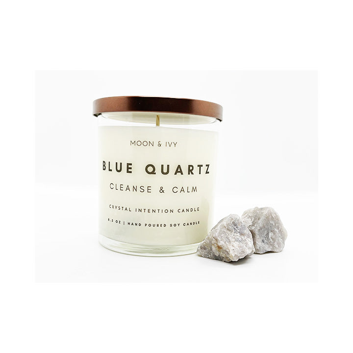 Moon Ivy candle Blue Quartz Crystal Candle Cleanse Calm Blue Quartz Crystal Intention Candle