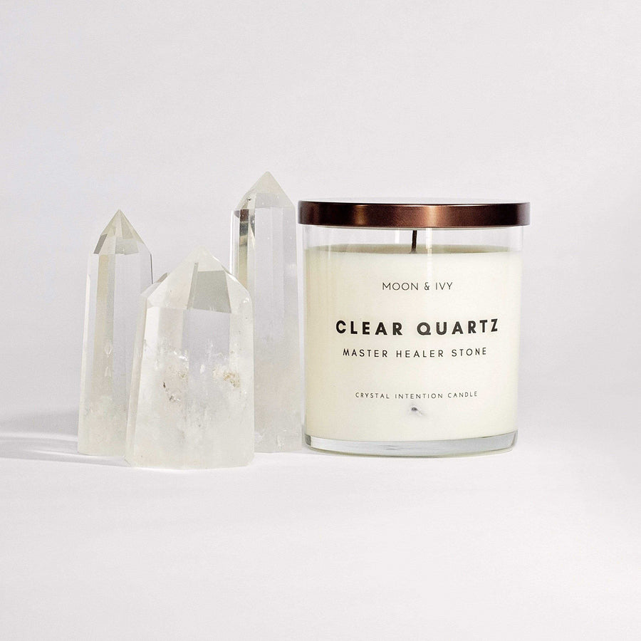 Moon & Ivy candle Clear Quartz Crystal Intention Candle
