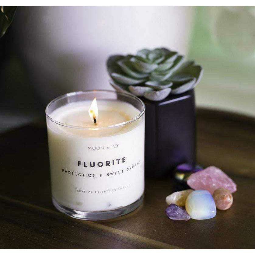 Moon & Ivy candle Fluorite Crystal Candle