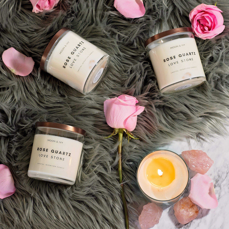 Moon & Ivy candle Rose Quartz Crystal Candle