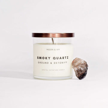 Moon & Ivy candle Smoky Quartz Crystal Candle