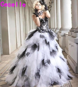 d30bdfa6d2 Black and White Vintage Ball Gown Gothic Wedding Dresses