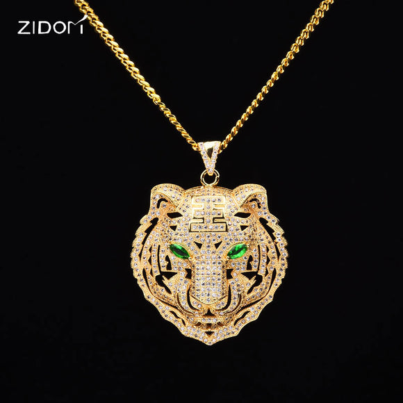 Men HipHop iced out bling tiger pendant necklaces CZ AAA Zircon 100% Copper  fashion Animal b5ed0eceed27