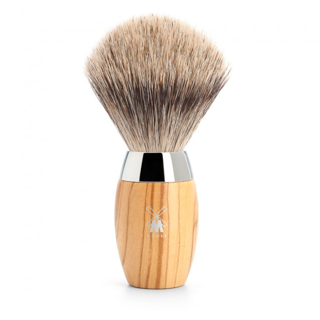 MUHLE KOSMO fine badger brush. olive wood handle 281H870 - Blackwood Barbers