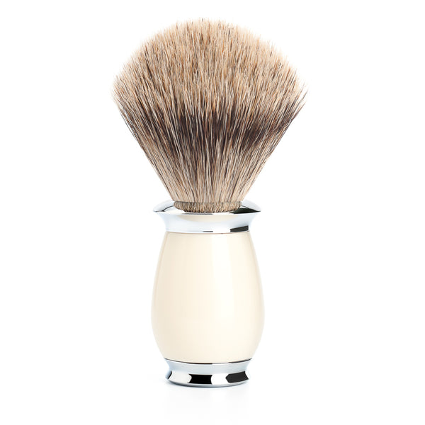 MUHLE PURIST FINE BADGER BRUSH HIGHGRADE IVORY RESIN HANDLE