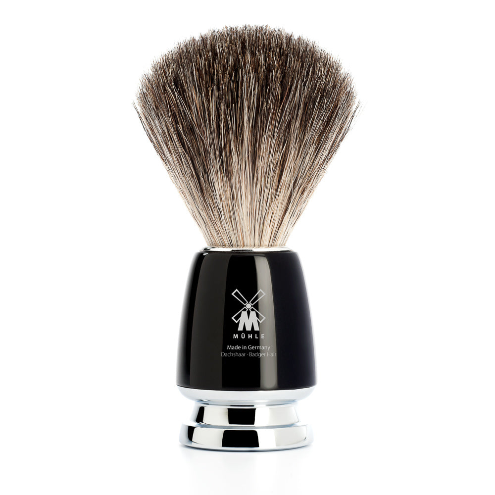 MUHLE RYTMO PURE BADGER BRUSH BLACK RESIN HANDLE