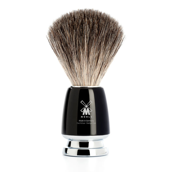 MUHLE RYTMO PURE BADGER BRUSH BLACK RESIN HANDLE - Blackwood Barbers