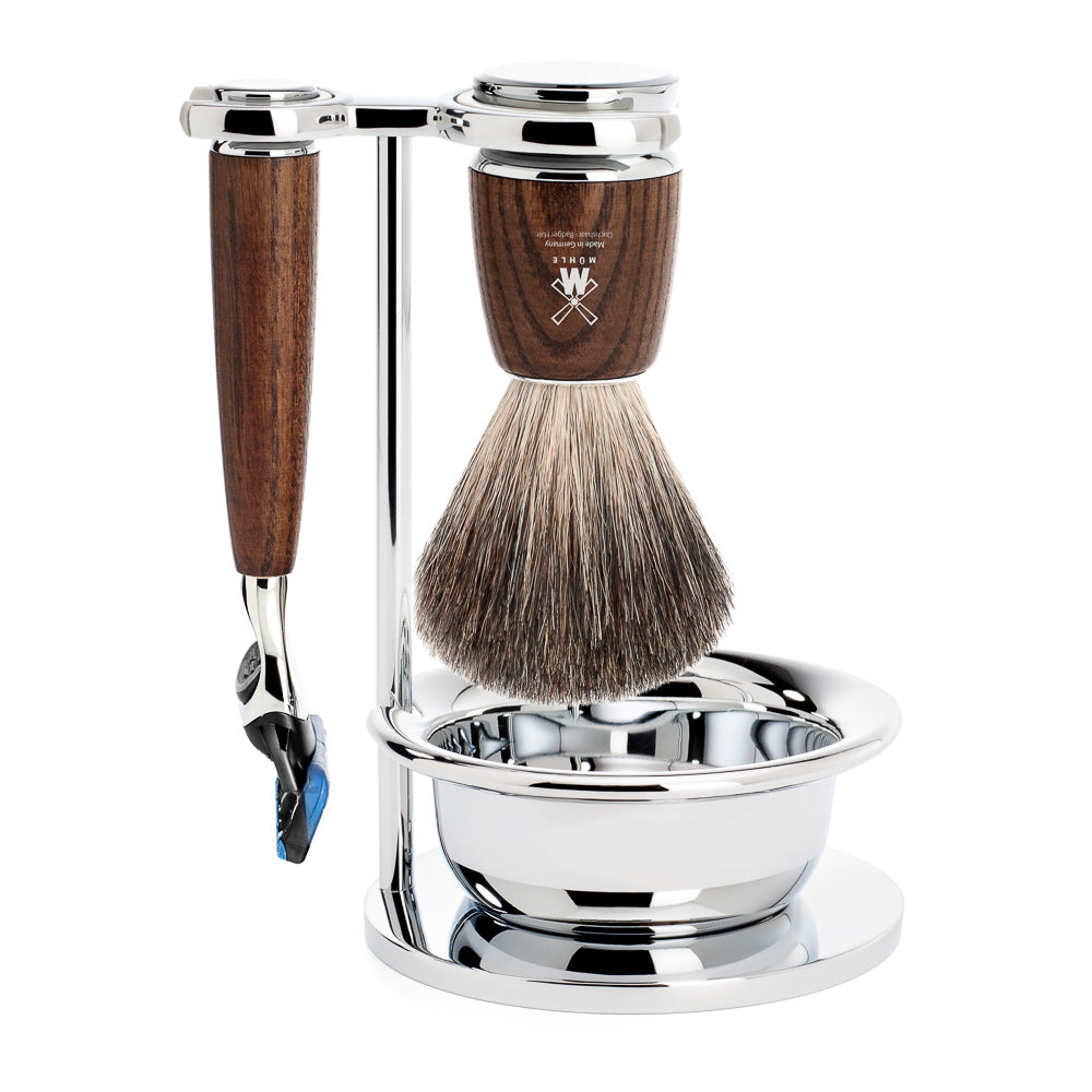 MUHLE RYTMO 4 Piece SHAVING SET. FUSION 5-BLADE RAZOR & PURE BADGER BRUSH with BOWL. STEAMED ASH HANDLE - Blackwood Barbers