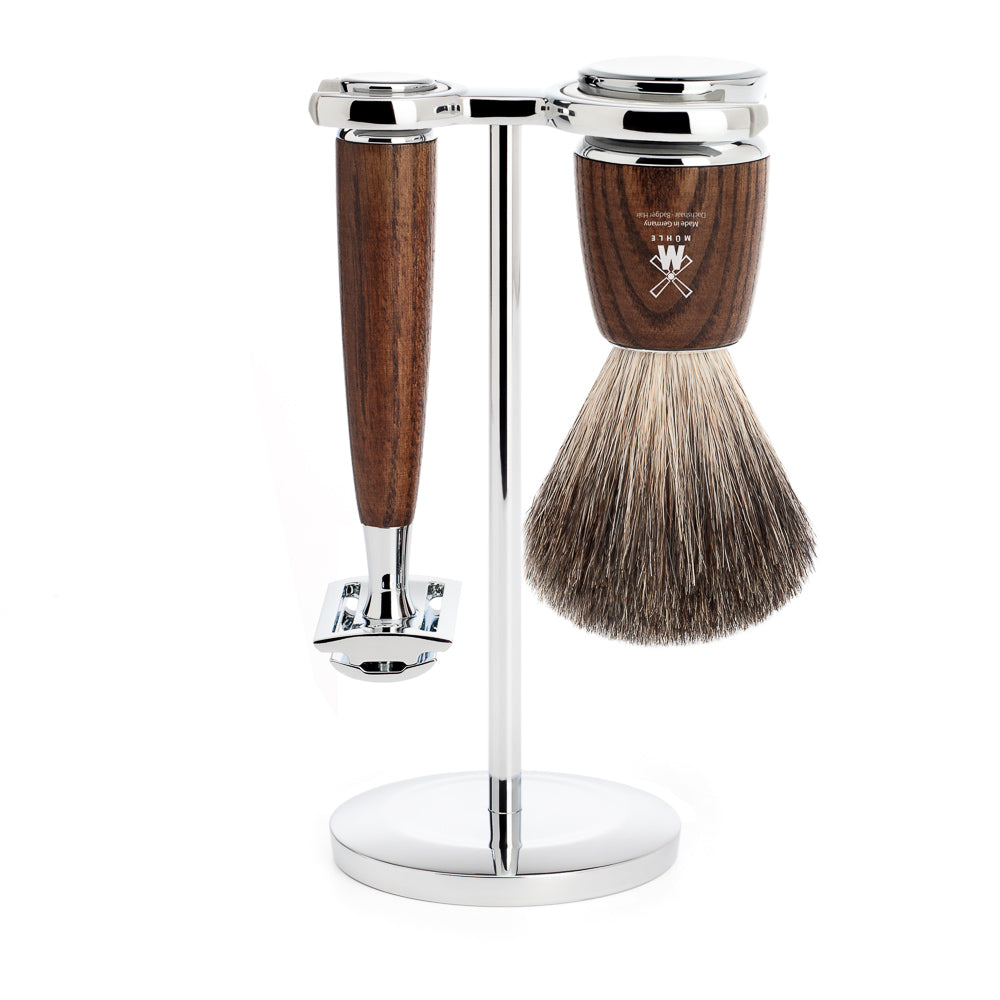 MUHLE RYTMO 3 Piece SHAVING SET. SAFETY RAZOR & PURE BADGER BRUSH. STEAMED ASH HANDLE