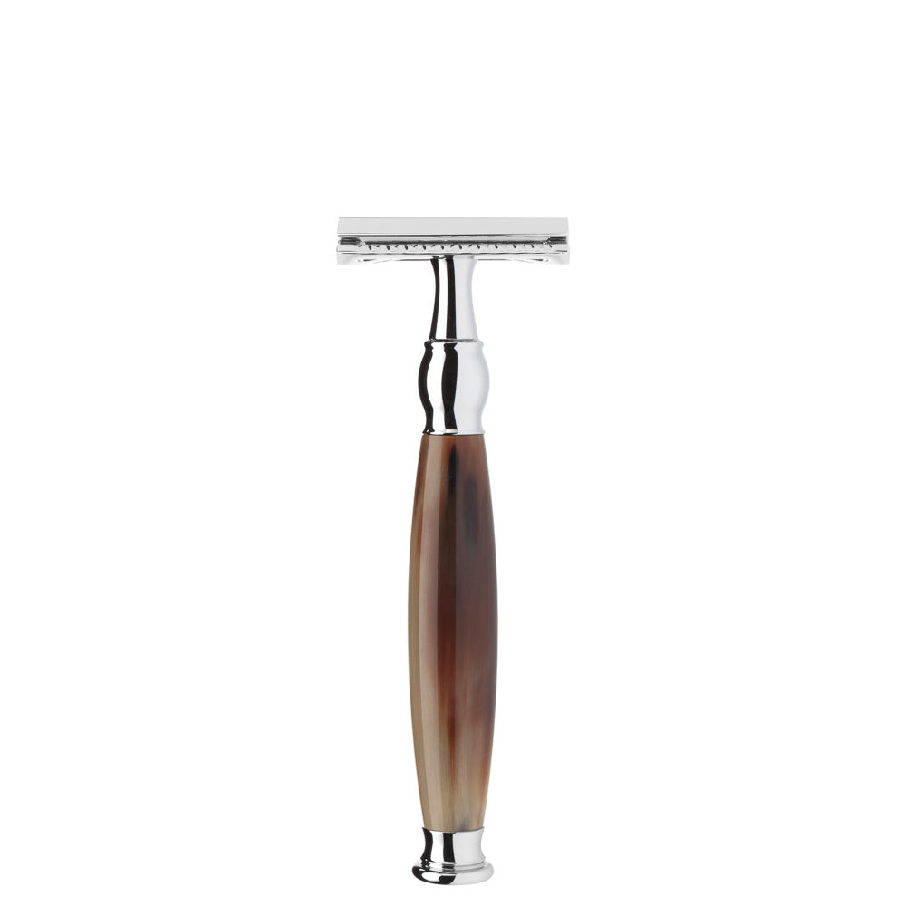 MUHLE SAFETY RAZOR CLOSED COMB GENUINE BUFFALO HORN HANDLE - Blackwood Barbers