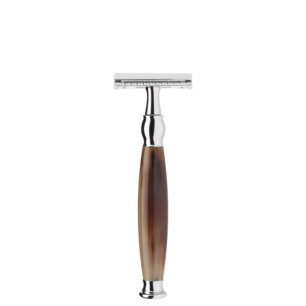 MUHLE SAFETY RAZOR CLOSED COMB GENUINE BUFFALO HORN HANDLE