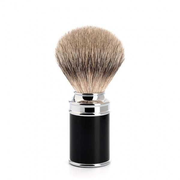 MUHLE silvertip badger brush. high-grade resin black handle 091M106 - Blackwood Barbers