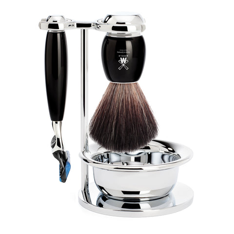 MUHLE  4 piece Shave Set, Black Fibre, with Gillette® Fusion™, handle material made of high-grade resin black - Blackwood Barbers