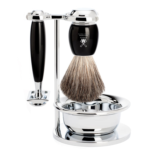 MUHLE Vivo 4 pce Shave Set. Safety razor & badger brush with bowl. BLACK RESIN HANDLE S81 M 336 SSR