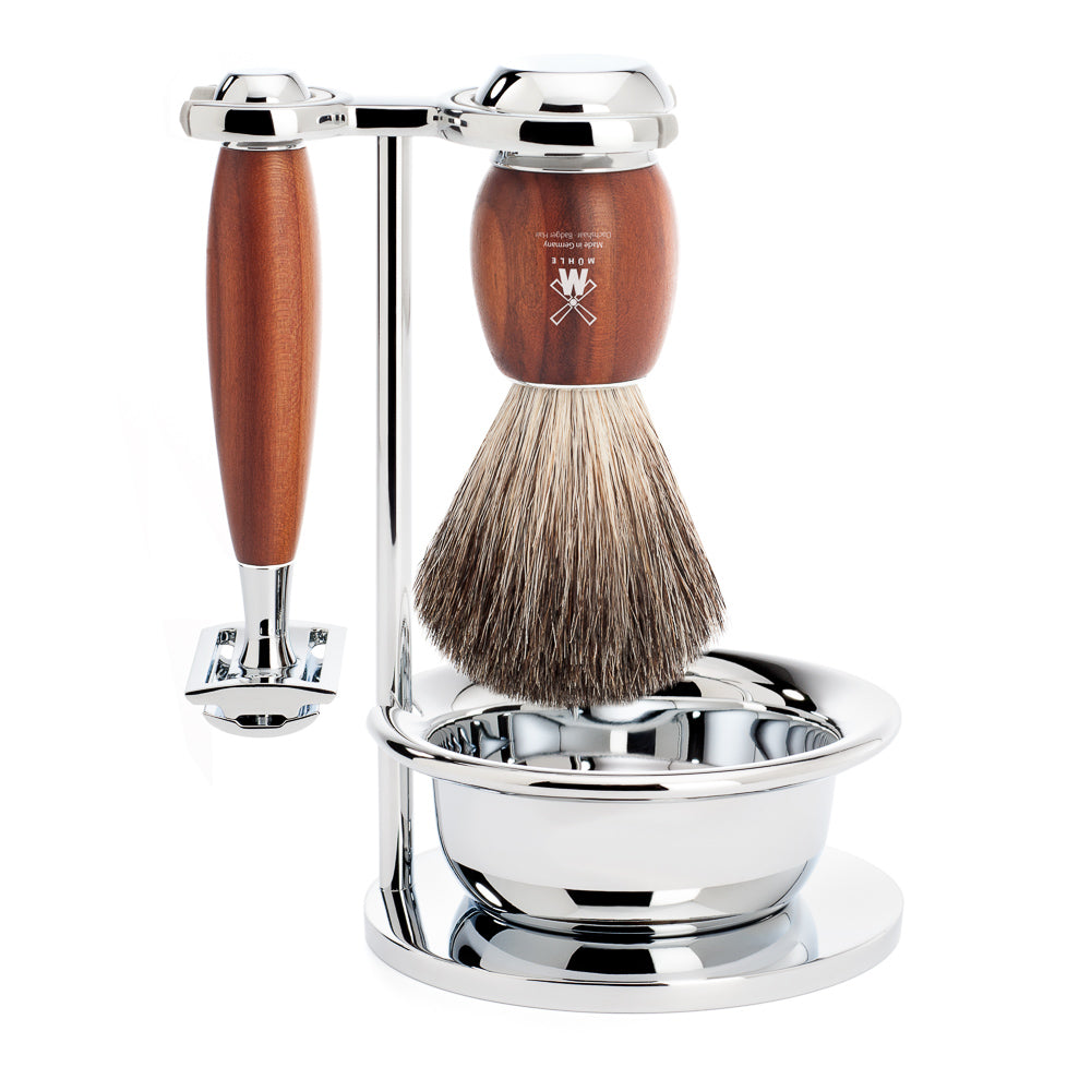 MUHLE Vivo 4 pce Shave Set. Safety razor & badger brush with bowl. PLUM WOOD HANDLE S81 M 336 SSR