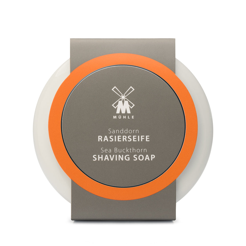 MUHLE SHAVING SOAP WITH SEA BUCKTHORN IN PORCELAIN BOWL - Blackwood Barbers